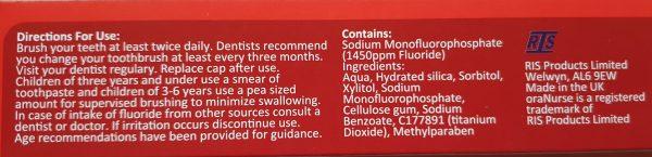 OraNurse Unflavoured Toothpaste 50ml Autism friendly