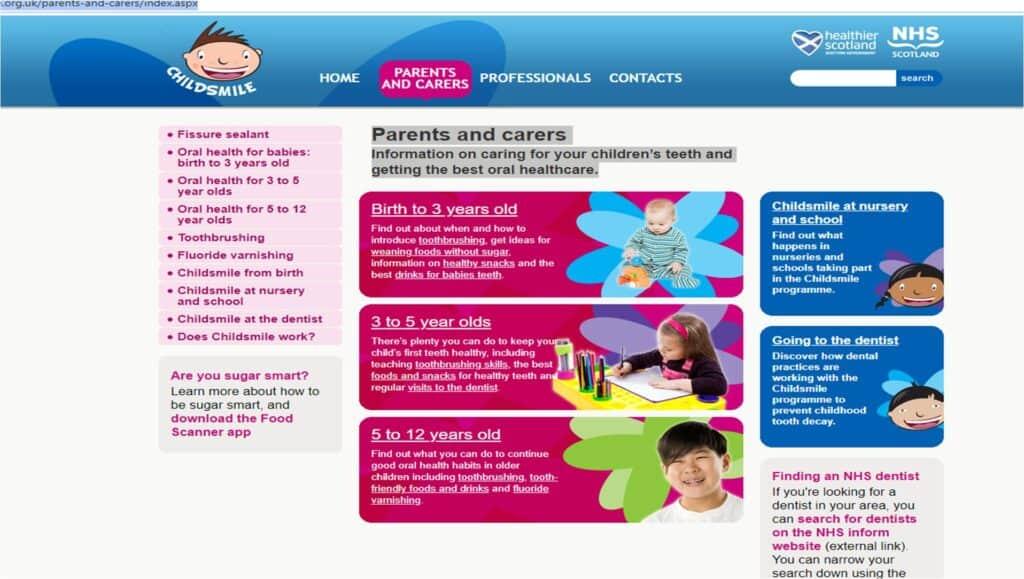 childsmile oral health advice