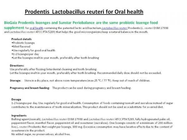 Prodentis info