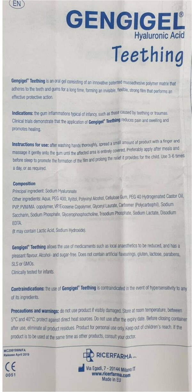 Detailed ingredients list teething gel